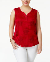 Style&Co. Style & Co Plus Size Embroidered Shell, Created for Macy's