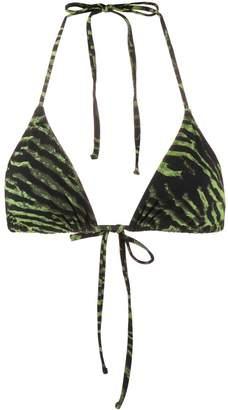 Ganni tiger print bikini top