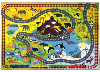 "KC Cubs Playtime Collection Animal Safari Road Map Educational Learning Area Rug Carpet for Kids and Children Bedrooms and Playroom (8' 2"" x 9' 10"")"