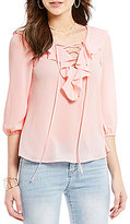 Soulmates Lace-Up V-Neck Flounce Ruffle Top