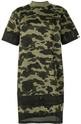 A Bathing Ape camouflage-print mesh-panel T-shirt dress