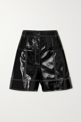 Tibi Topstitched Faux Patent-leather Shorts - Black