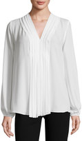 Max Studio Pleat-Front Long-Sleeve Blouse, Ivory