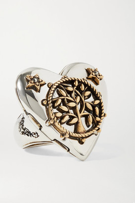 Alexander McQueen Heart Silver And Gold-tone Crystal Ring - 13