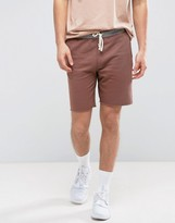 Pull&bear Jersey Shorts In Dusky Pink With Contrast Band