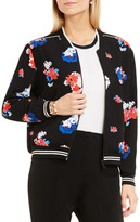 Vince Camuto Travelling Blooms Zip Front Bomber Jacket