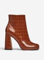 Dorothy Perkins Womens Lola Skye Tan 'Lorde' Croc Design Platform Ankle Boots