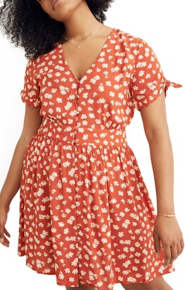 Madewell Hibiscus Print Button Front Tie Sleeve Retro Dress