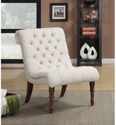 """Alcott Hill Calahan 25"""" Wide Tufted Linen Slipper Chair"""