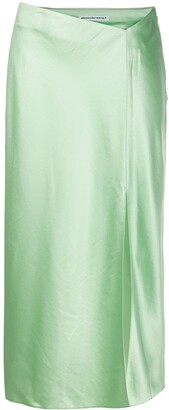 Alexander Wang Split-Hem Satin Midi Skirt