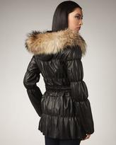 Neiman Marcus Faux-Fur Puffer Coat