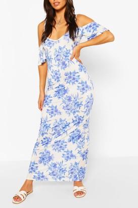 boohoo Petite Floral Cold Shoulder Maxi Dress