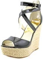 MICHAEL Michael Kors Michael Kors Gabriella Wedge Sandal /Gold Patent Leather Ankle Strap Shoe