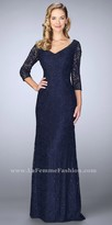 La Femme Cascading Beaded Lace Three-quarter Sleeve Evening Dress