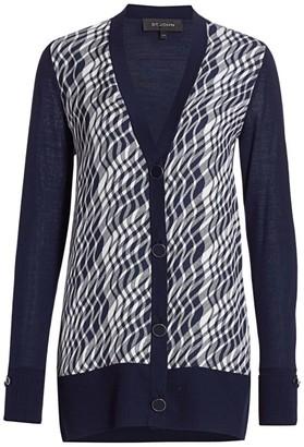 St. John Plisse Plaid Wool & Silk Cardigan