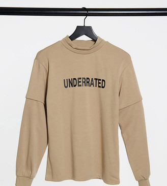 Noisy May Tall high neck sweat with front print in beige