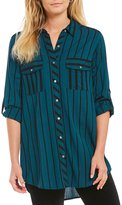 Intro Roll-Tab Sleeve Stripe Button Front Tunic