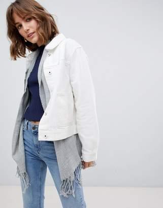 Maison Scotch White Denim Jacket with Detachable Inside Scarf