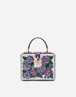 Dolce & Gabbana Dolce Box Bag In Calfskin With Anemone Print And Embroidery