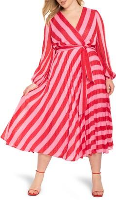 ELOQUII Stripe Long Sleeve Wrap Dress