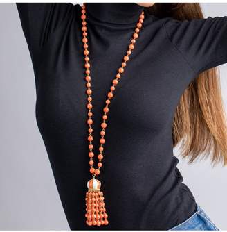 Kenneth Jay Lane Coral Bead Tassel Necklace