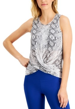 Ideology Snake-Print Twist-Front Tank Top, Created for Macy's