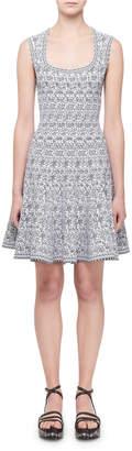 Alaia Sleeveless Labyrinth Intarsia Dress, White/Black