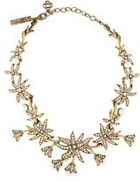 Oscar de la Renta Flower Crystal & Pearl Collar Necklace