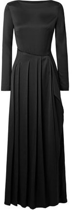 Cédric Charlier Pleated Satin-twill Maxi Dress