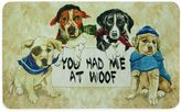 """Bacova 17.5-Inch x 29-Inch """"You Had Me at Woof"""" Kitchen Mat in Beige"""