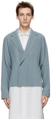 Homme Plissé Issey Miyake Grey Tailored Pleats Double-Breasted Blazer
