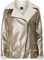 Dorothy Perkins Rose Gold Metallic Faux Shearling Biker Jacket