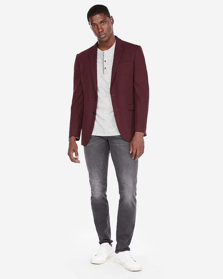 Express Slim Burgundy Knit Blazer