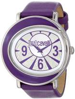 Just Cavalli Women's Quartz Watch with Silver Dial Analogue Display and Purple Leather Bracelet R7251186501