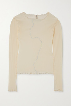 Base Range Net Sustain Rio Grande Ruffled Embroidered Organic Cotton Top - White