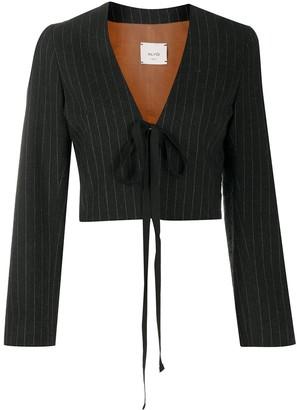 Alysi Pinstripe Front-Tie Blazer