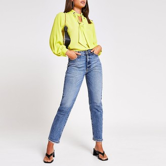 River Island Lime long sleeve tie front eyelet blouse