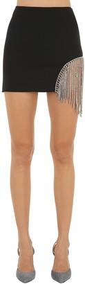 Area Bonded Wool Mini Skirt W/ Crystal Fringe