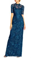 Adrianna Papell Mock Neck Floral Lace Column Gown