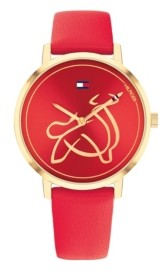 Tommy Hilfiger Women's Red Leather Strap Watch 35mm