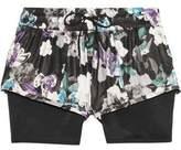 adidas by Stella McCartney Layered Floral-Print Shell And Mesh Shorts