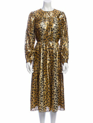 Marc Jacobs Silk Midi Length Dress Gold