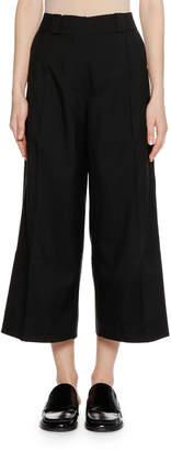 Marni Wide-Leg Cropped Virgin-Wool Woven Pants