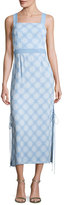 Diane von Furstenberg Sleeveless Tie-Side Printed Midi Dress, Blue