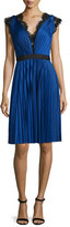 Catherine Deane Lace-Trim Pleated Jersey Dress, Cobalt