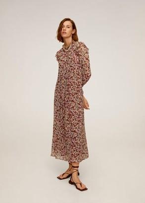 MANGO Floral print long dress black - 6 - Women