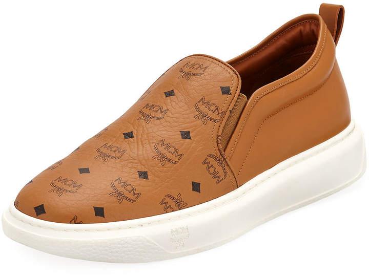 MCM Men's Visetos Canvas/Leather Slip-On Sneakers
