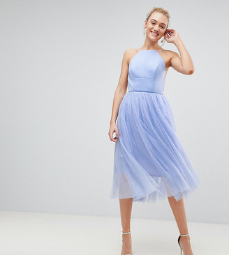 Asos Tall TALL PREMIUM Scuba Pinny Midi Tulle Dress-Blue