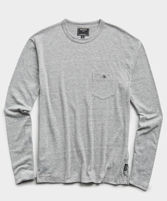 Todd Snyder Long Sleeve Heather Tee in Pebble Grey