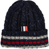 Thom Browne Men's Flecked Cable-Knit Wool Beanie-NAVY